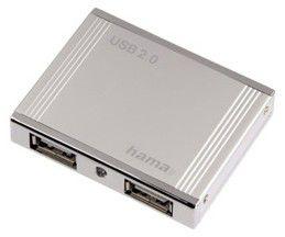 Хаб Hama H-78498 USB 2.0 4 порта серебристый аллюминиевый