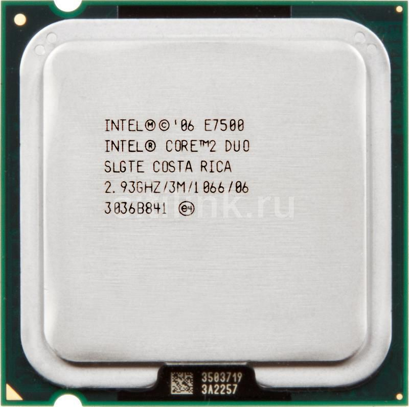 Процессор INTEL Core 2 Duo E7500, LGA 775 OEM [at80571ph0773mls lgte]