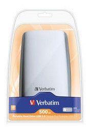 Внешний жесткий диск VERBATIM 500Гб, серебристый [47630]