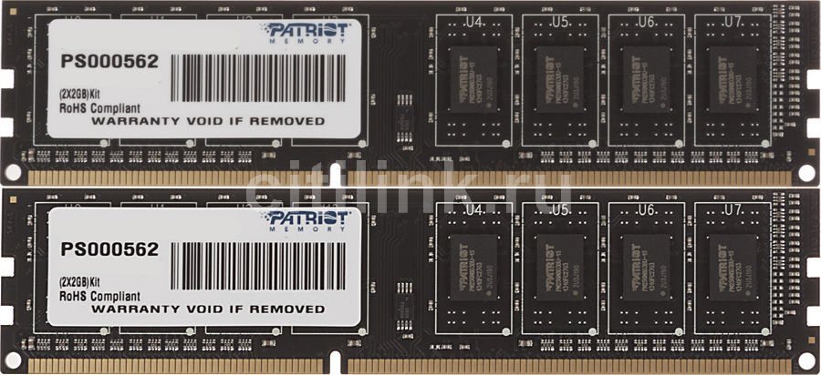 Модуль памяти PATRIOT DDR3 -  2x 2Гб 1333, DIMM,  Ret