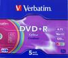 Оптический диск DVD+R VERBATIM 4.7Гб 16x, 5шт., slim case, разноцветные [43556] вид 1
