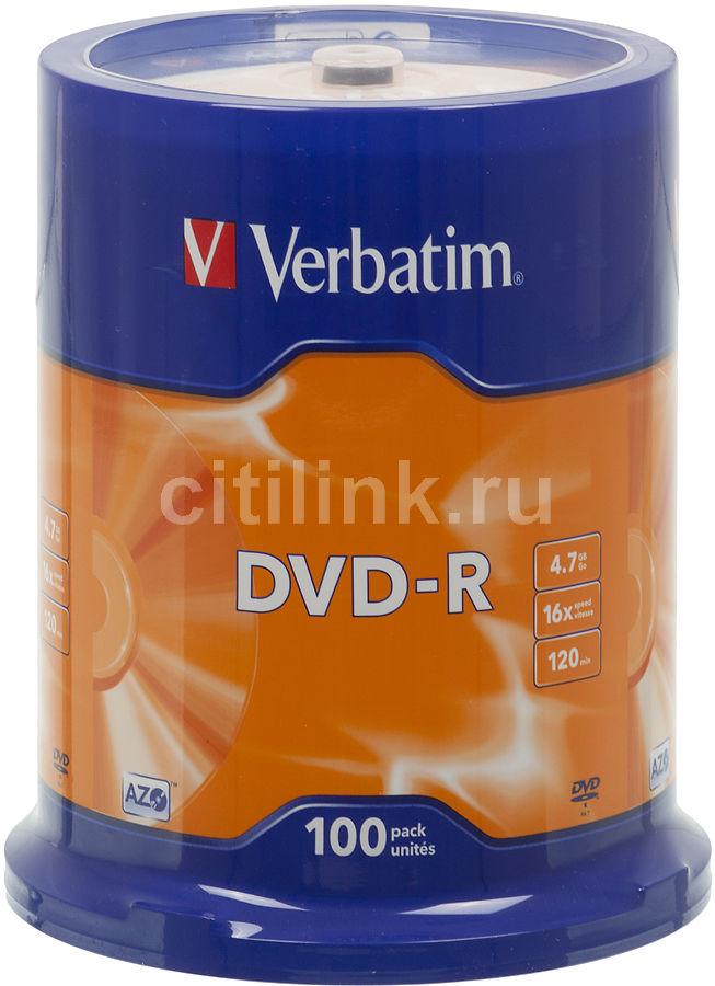 Оптический диск DVD-R VERBATIM 4.7Гб 16x, 100шт., cake box [43549]