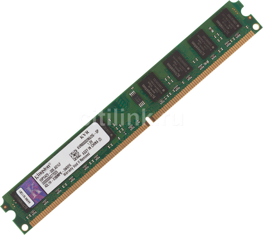Модуль памяти KINGSTON VALUERAM KVR800D2N6/2G-SP DDR2 -  2Гб 800, DIMM,  OEM,  низкопрофильная