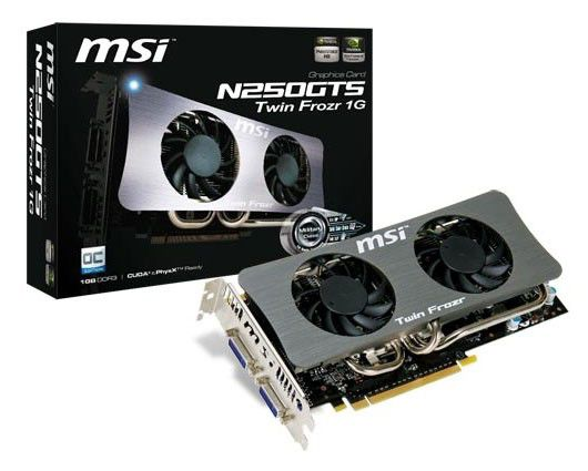 Видеокарта MSI N250GTS Twin Frozr 1G OC,  1Гб, DDR3, OC,  Ret