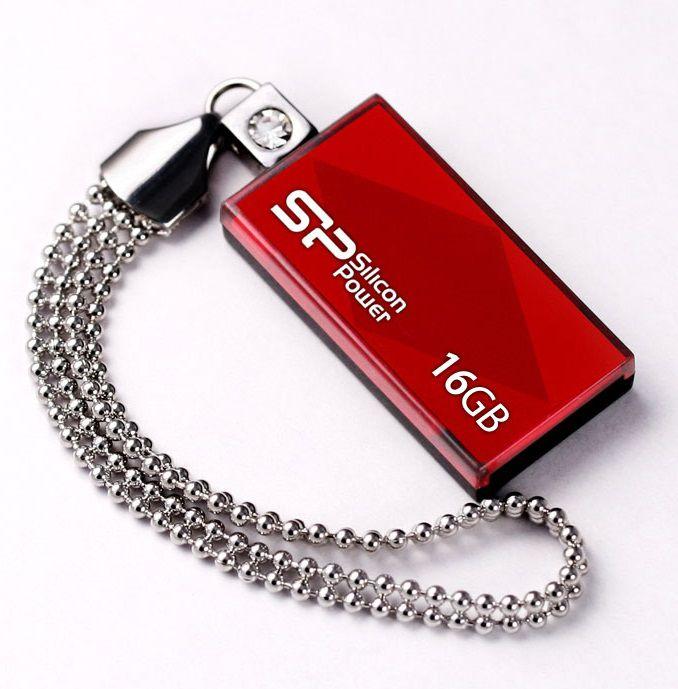 Флешка USB SILICON POWER Touch 810 16Гб, USB2.0, красный [sp016gbuf2810v1r]