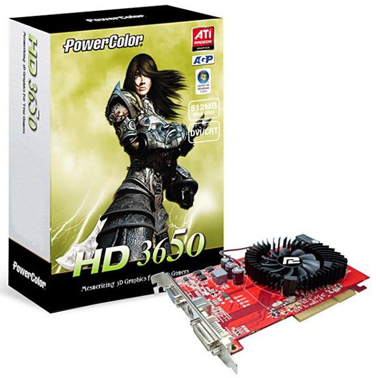 Видеокарта POWERCOLOR Radeon HD 3650, AG3650 512MD2-V3,  512Мб, DDR2, oem