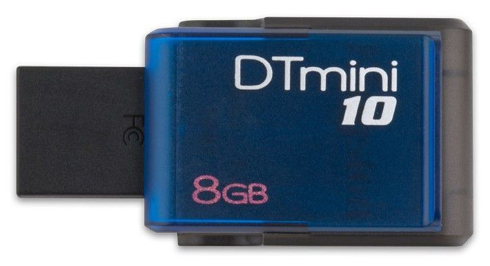 Флешка USB KINGSTON DataTraveler Mini 10 8Гб, USB2.0, синий [dtm10/8gb]