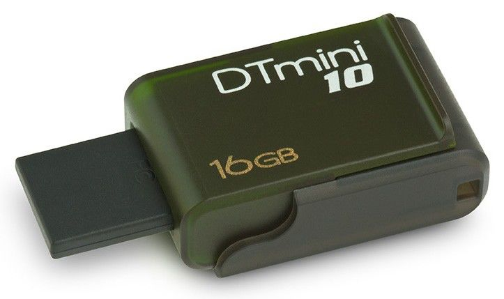Флешка USB KINGSTON DataTraveler Mini 10 16Гб, USB2.0, зеленый [dtm10/16gb]