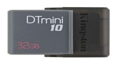 Флешка USB KINGSTON DataTraveler Mini 10 32Гб, USB2.0, серый [dtm10/32gb]