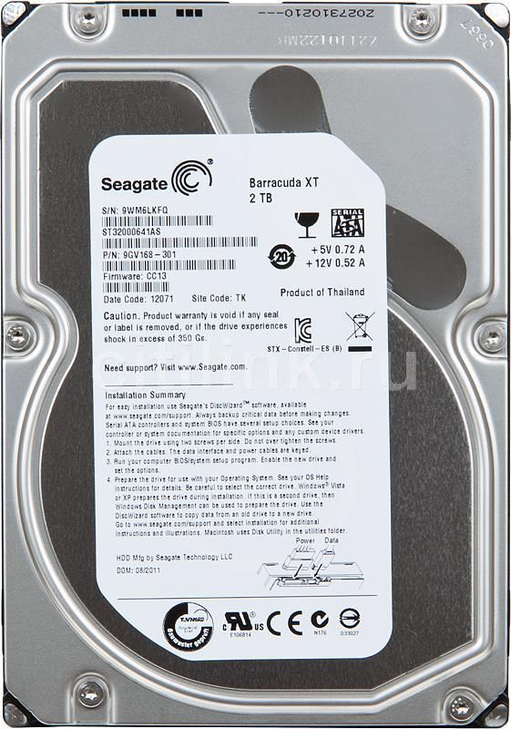 Жесткий диск SEAGATE Barracuda XT ST32000641AS,  2Тб,  HDD,  SATA III,  3.5