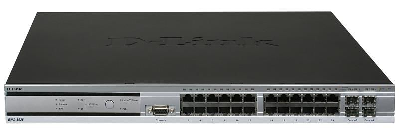 Коммутатор D-Link DWS-3026 24x10/100/1000Base-T L2 PoE 4 Combo SFP 2 open slots for optional 10GE