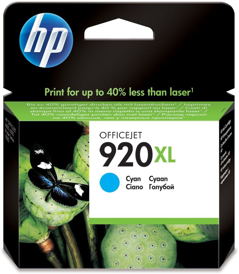 Картридж HP 920XL голубой [cd972ae] картридж струйный hp 920xl cd973ae пурпурный для hp oj 6000 6500 700стр