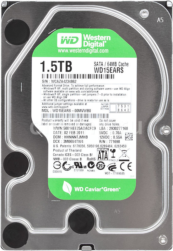 Жесткий диск WD Caviar Green WD15EARS,  1.5Тб,  HDD,  SATA II,  3.5