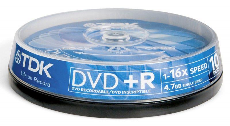 Оптический диск DVD+R TDK 4.7Гб 16x, 10шт., cake box