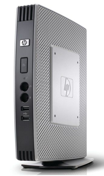 Тонкий клиент  HP t5740w,  Intel  Atom  N280,  DDR3 2Гб, 2Гб(SSD),  Intel GMA X4500HD,  Windows Embedded Standard,  черный [vu902aa]