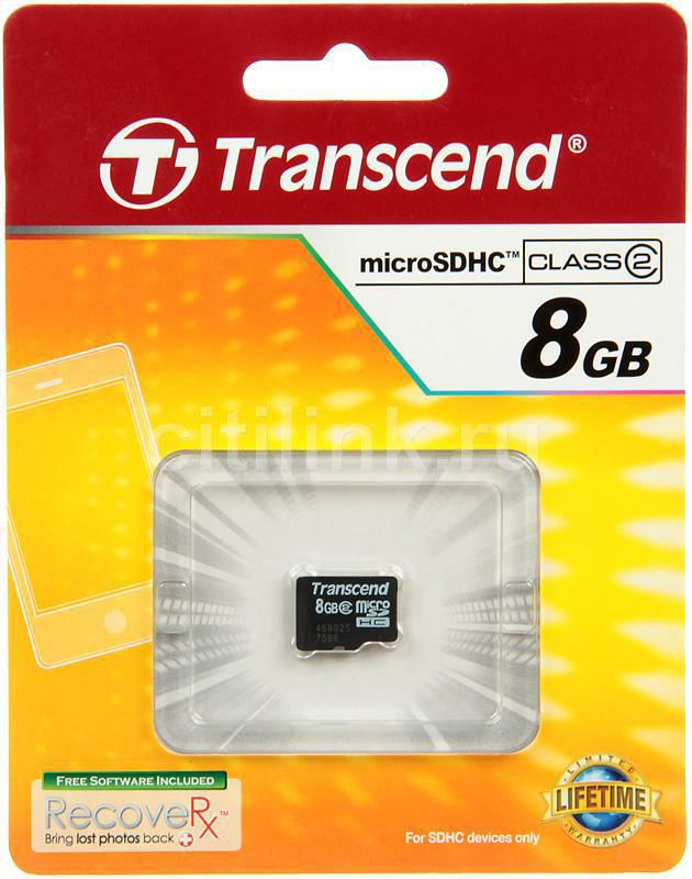 Карта памяти microSDHC TRANSCEND 8 ГБ, Class 2, TS8GUSDC2,  1 шт.
