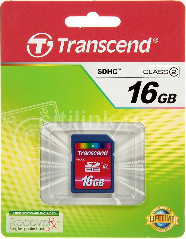Карта памяти SDHC TRANSCEND 16 ГБ, Class 2, TS16GSDHC2,  1 шт.