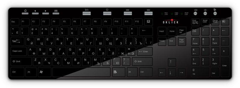 Клавиатура OKLICK 600M,  USB, черный