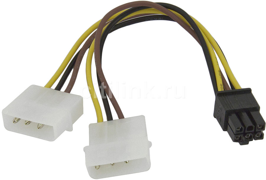 Кабель питания Molex 8980 - PCI-E 6pin, 0.15м кабель orient c391 pci express video 2x4pin 6pin