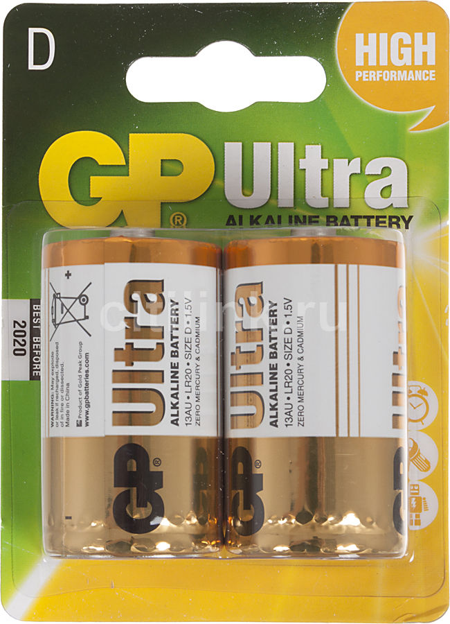 Батарея GP Ultra Alkaline 13AU LR20,  2 шт. D