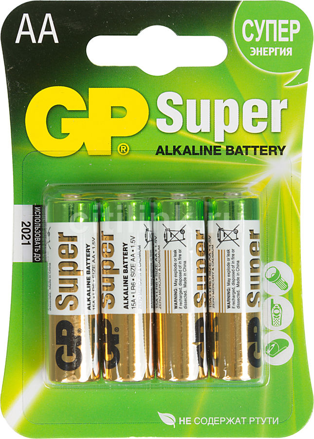 AA Батарейка GP Super Alkaline 15A LR6,  4 шт.