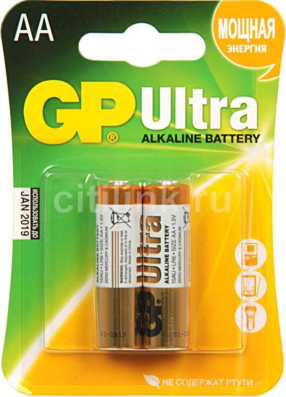 AA Батарейка GP Ultra Alkaline 15AU LR6,  2 шт.