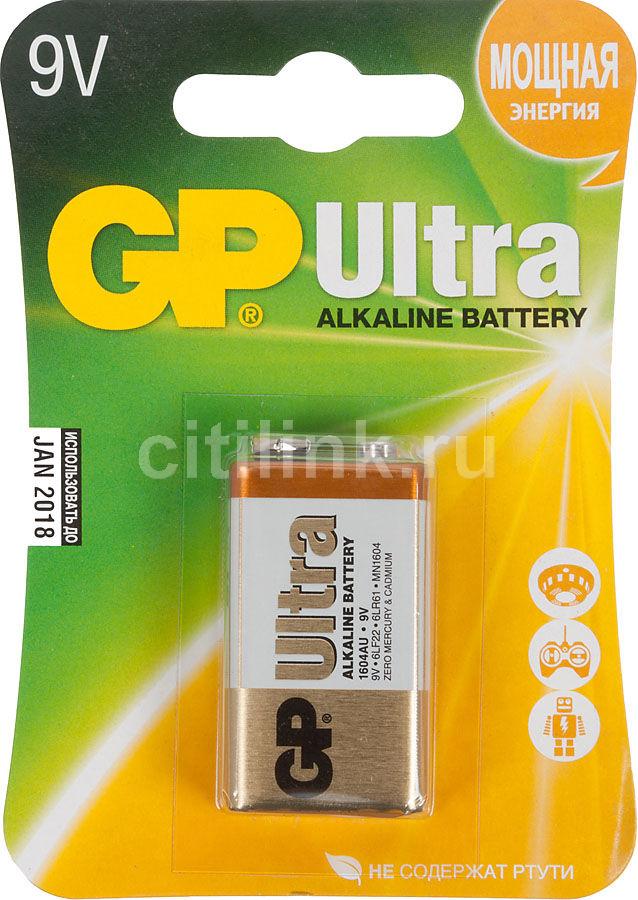 9V Батарейка GP Ultra Alkaline 1604AU 6LR61,  1 шт.