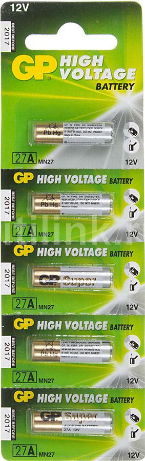 Батарейка GP Super Alkaline 27A,  5 шт. MN27