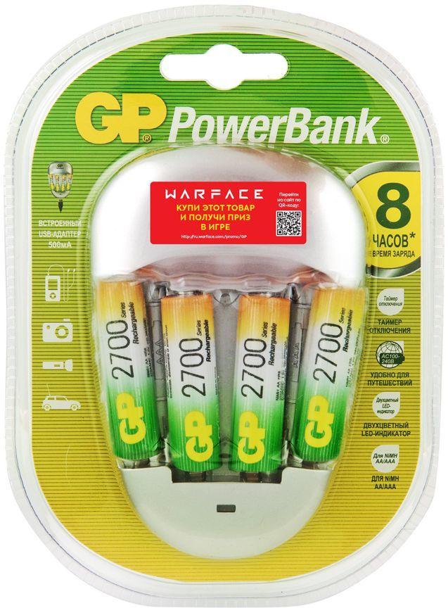 Аккумулятор + зарядное устройство GP PowerBank PB27GS270,  4 шт. AA,  2700мAч