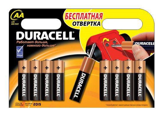 Батарея DURACELL Basic LR6 + отвертка,  8 шт. AA