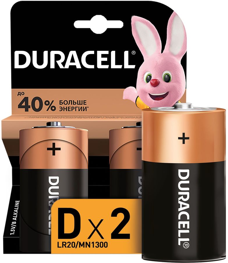 Батарея DURACELL Basic LR20-2BL,  2 шт. D