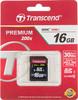 Карта памяти SDHC UHS-I TRANSCEND Premium 16 ГБ, 30 МБ/с, 200X, Class 10, TS16GSDHC10,  1 шт. вид 1