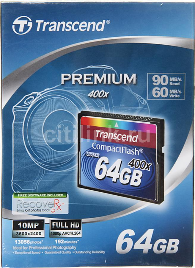 Карта памяти CF TRANSCEND 64 ГБ, 400X, TS64GCF400,  1 шт.