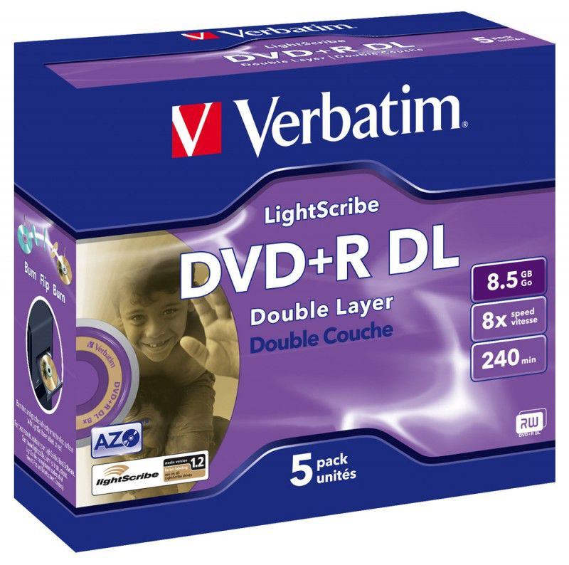 Оптический диск DVD+R VERBATIM 8.5Гб 8x, 5шт., jewel case [43684]