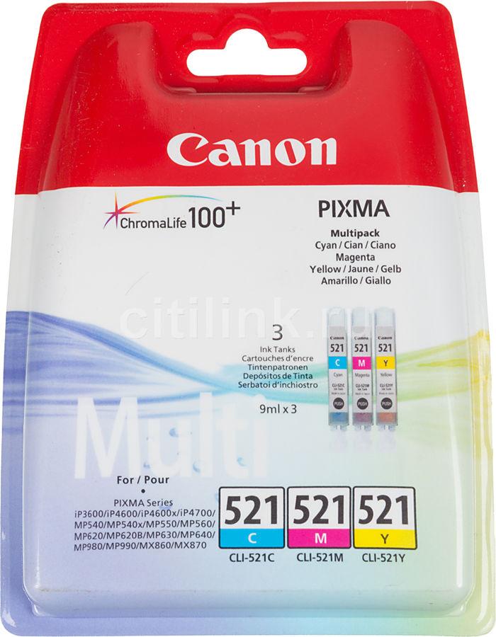 Картридж CANON CLI-521, голубой / пурпурный / желтый [2934b010]