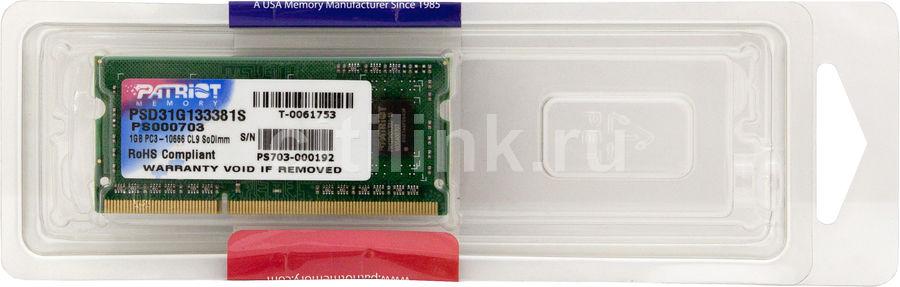 Модуль памяти PATRIOT DDR3 -  1Гб 1333, SO-DIMM,  Ret