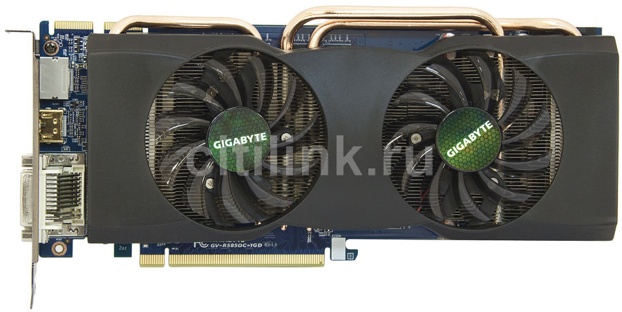 Видеокарта GIGABYTE Radeon HD 5850,  1Гб, GDDR5, Ret [gv-r585oc-1gd]