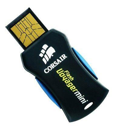 Флешка USB CORSAIR Voyager Mini 32Гб, USB2.0, черный и синий [cmfusbmini-32gb]