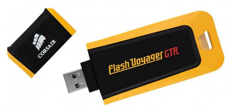 Флешка USB CORSAIR Voyager GTR 64Гб, USB2.0, черный и желтый [cmfvya64gbgt2]