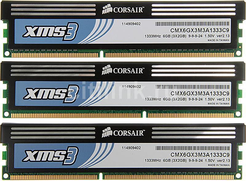 Модуль памяти CORSAIR XMS3 CMX6GX3M3A1333C9 DDR3 -  3x 2Гб 1333, DIMM,  Ret