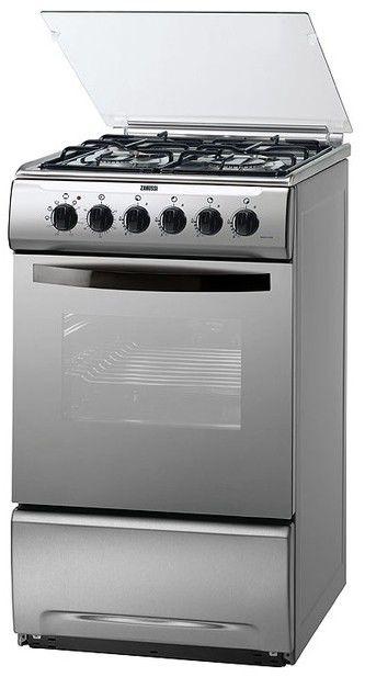 Газовая плита ZANUSSI ZCG 554NX1,  электрическая духовка,  серебристый [zcg554nx1]