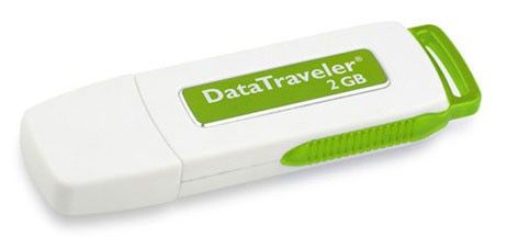 Флешка USB KINGSTON DataTraveler 2Гб, USB2.0, белый и зеленый [dti/2gb]