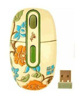 Мышь G-CUBE Floral Fantasy G7F-10SP оптическая беспроводная USB, желтый и рисунок