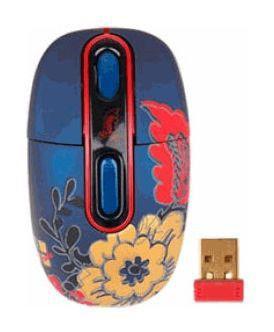 Мышь G-CUBE Floral Fantasy G7F-10W оптическая беспроводная USB, синий и рисунок