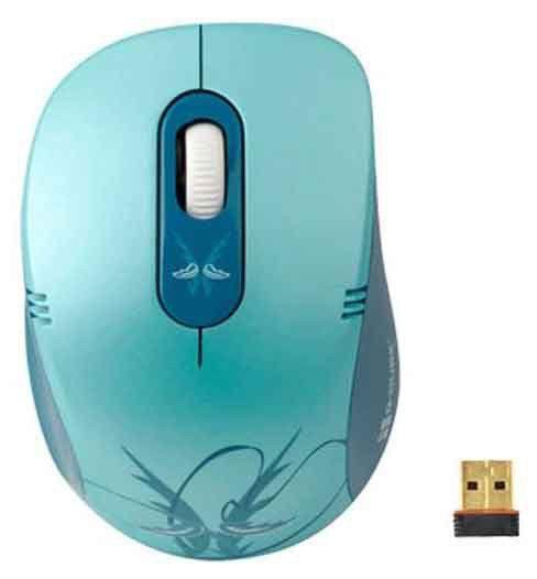 Мышь G-CUBE V-Track G7E-60W оптическая беспроводная USB, голубой