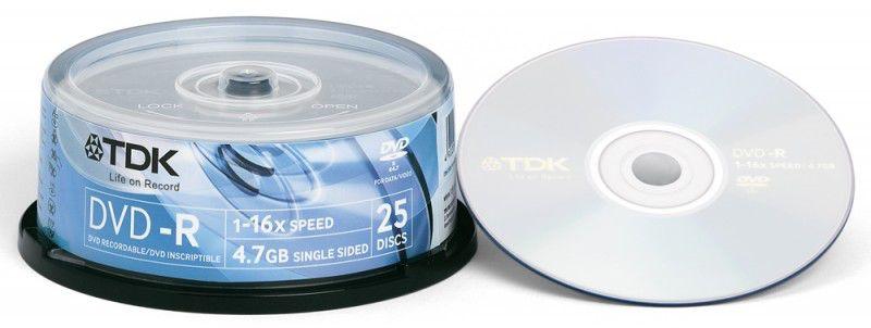 Оптический диск DVD-R TDK 4.7Гб 16x, 25шт., cake box