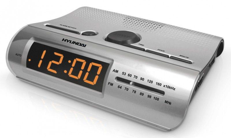 Радиобудильник HYUNDAI H-1502, оранжевая подсветка,  серебристый