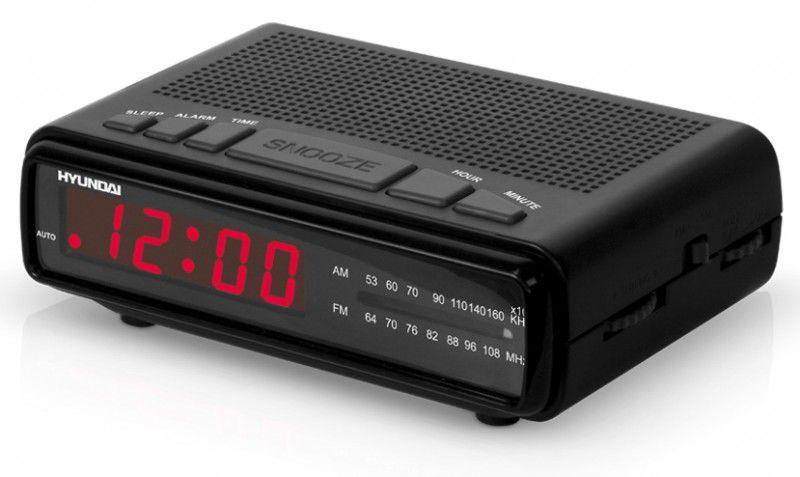 Радиобудильник HYUNDAI H-1526, красная подсветка,  черный