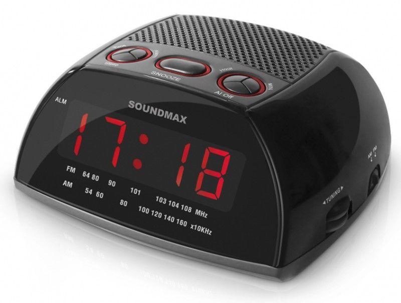 Радиобудильник SOUNDMAX SM-2502, красная подсветка,  серый