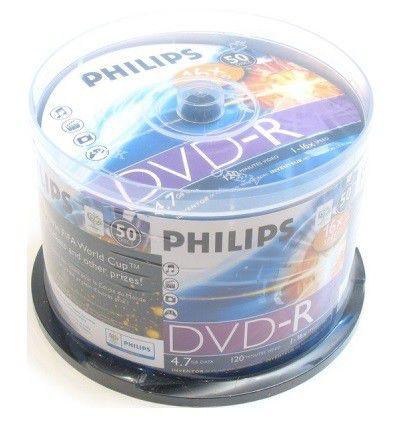Оптический диск DVD-R PHILIPS 4.7Гб 16x, 50шт., cake box